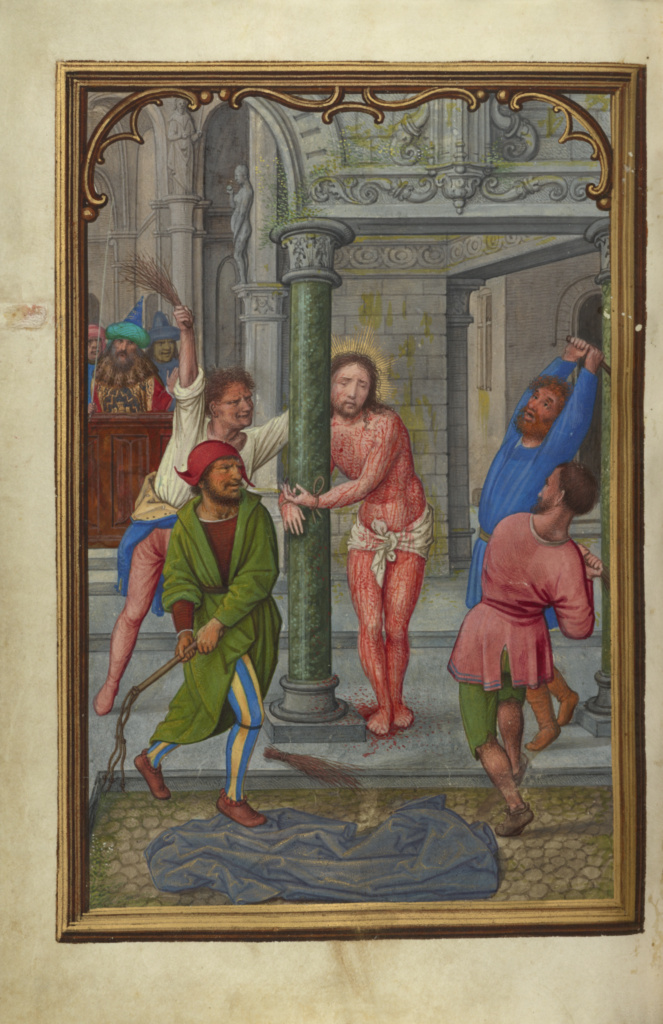 The Flagellation; Simon Bening (Flemish, about 1483 - 1561); Bruges, Belgium; about 1525–1530; Tempera colors, gold paint, and gold leaf on parchment; Leaf: 16.8 × 11.4 cm (6 5/8 × 4 1/2 in.); Ms. Ludwig IX 19 (83.ML.115), fol. 154v; The J. Paul Getty Museum, Los Angeles, Ms. Ludwig IX 19, fol. 154v; Rights Statement: No Copyright - United States