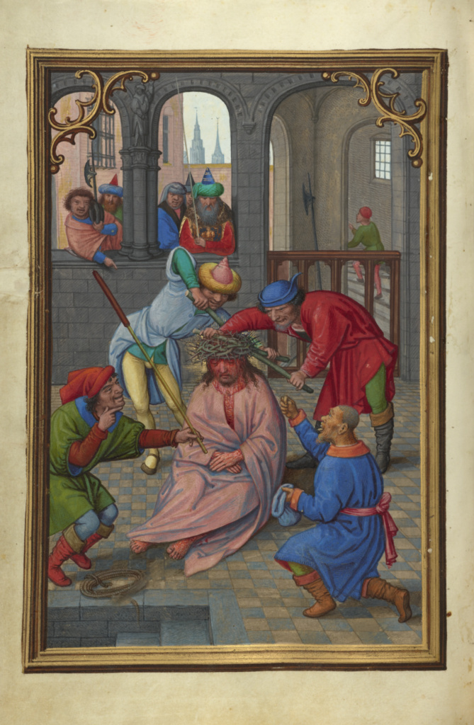 The Crowning with Thorns; Simon Bening (Flemish, about 1483 - 1561); about 1525–1530; Tempera colors, gold paint, and gold leaf on parchment; Leaf: 16.8 × 11.4 cm (6 5/8 × 4 1/2 in.); Ms. Ludwig IX 19 (83.ML.115), fol. 160v; Rights Statement: No Copyright - United States