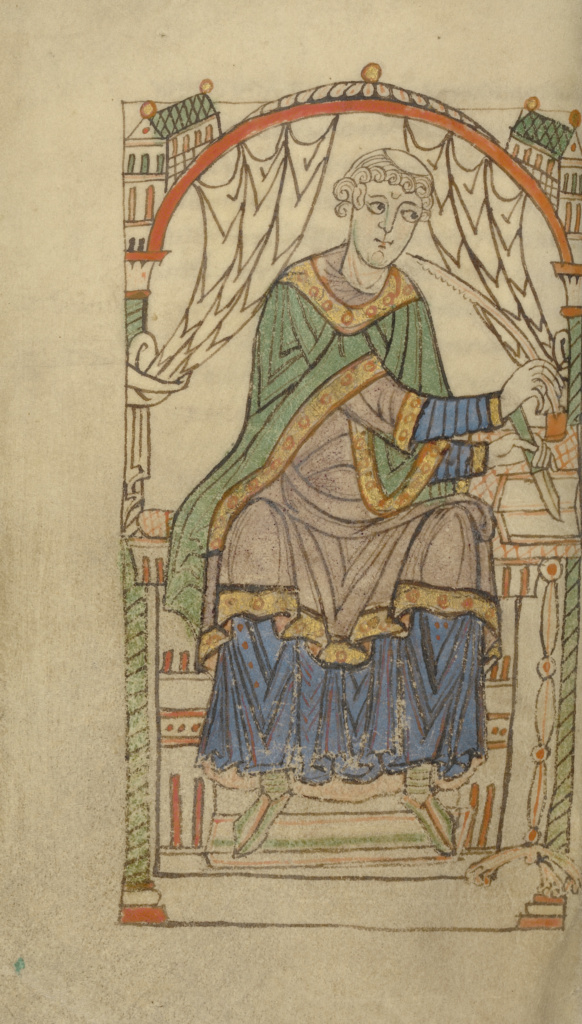 Scribe Writing, probably Eadmer of Canterbury; Unknown; Benedictine Abbey of Saint Martin, Tournai (probably), Belgium; about 1140–1150; Tempera colors, gold paint, and ink on parchment; Leaf: 17.8 × 10.8 cm (7 × 4 1/4 in.); Ms. Ludwig XI 6 (83.MN.125), fol. 44v; The J. Paul Getty Museum, Los Angeles, Ms. Ludwig XI 6, fol. 44v; Rights Statement: No Copyright - United States