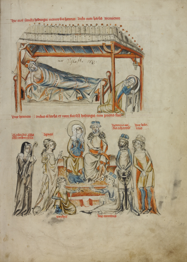 Heinrich Sleeping and Saint Hedwig Praying; Heinrich and Saint Hedwig with Their Children; Unknown maker; Silesia, Poland; 1353; Tempera colors, colored washes, and ink on parchment; Leaf: 34.1 × 24.8 cm (13 7/16 × 9 3/4 in.); Ms. Ludwig XI 7 (83.MN.126), fol. 11; The J. Paul Getty Museum, Los Angeles, Ms. Ludwig XI 7, fol. 11; Rights Statement: No Copyright - United States