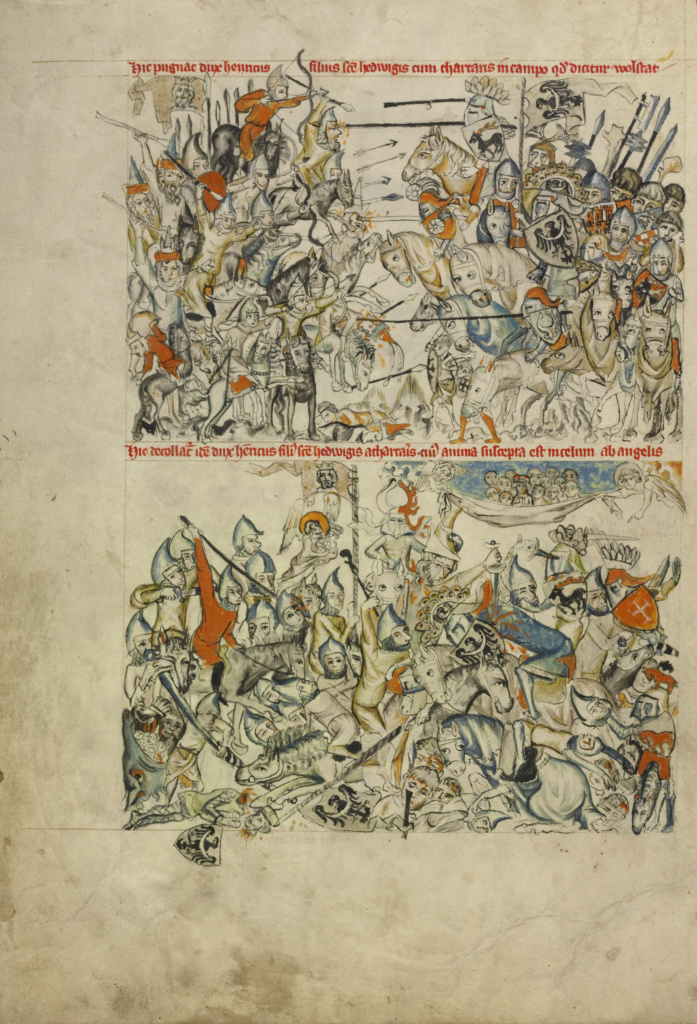 The Battle of Liegnitz; The Beheading of Heinrich and His Soul Carried by Angels to Heaven; Unknown maker; Silesia, Poland; 1353; Tempera colors, colored washes, and ink on parchment; Leaf: 34.1 × 24.8 cm (13 7/16 × 9 3/4 in.); Ms. Ludwig XI 7 (83.MN.126), fol. 11v; The J. Paul Getty Museum, Los Angeles, Ms. Ludwig XI 7, fol. 11v; Rights Statement: No Copyright - United States