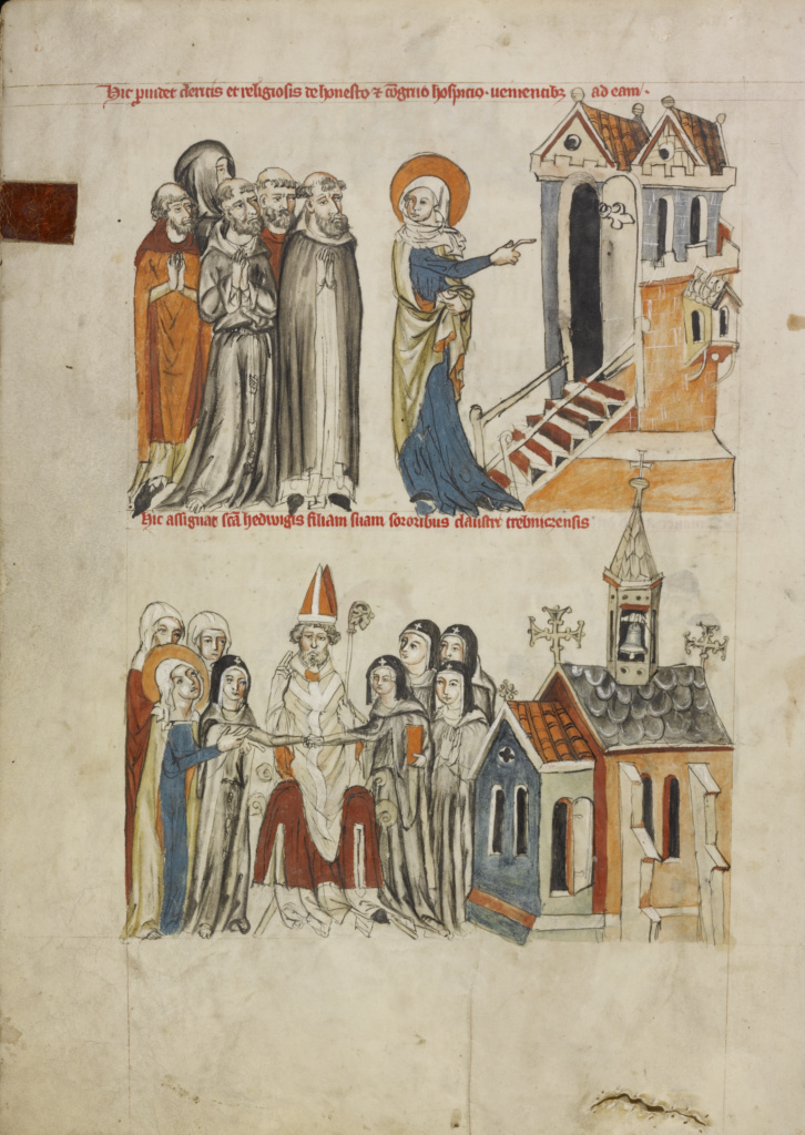 Saint Hedwig Offering Hospitality; Saint Hedwig Presenting Her Daughter Gertrude to the Convent of Trebnitz; Unknown; Silesia, Poland; 1353; Tempera colors, colored washes, and ink on parchment; Leaf: 34.1 × 24.8 cm (13 7/16 × 9 3/4 in.); Ms. Ludwig XI 7 (83.MN.126), fol. 18v; The J. Paul Getty Museum, Los Angeles, Ms. Ludwig XI 7, fol. 18v; Rights Statement: No Copyright - United States