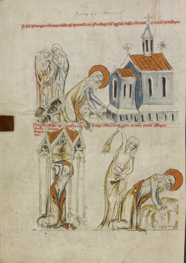 Saint Hedwig Leaving Bloody Footprints in the Snow; The Self-Flagellation of Saint Hedwig; Unknown maker; Silesia, Poland; 1353; Tempera colors, colored washes, and ink on parchment; Leaf: 34.1 × 24.8 cm (13 7/16 × 9 3/4 in.); Ms. Ludwig XI 7 (83.MN.126), fol. 38v; The J. Paul Getty Museum, Los Angeles, Ms. Ludwig XI 7, fol. 38v; Rights Statement: No Copyright - United States