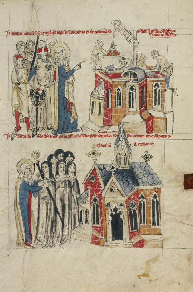 Saint Hedwig and the New Convent; Nuns from Bamberg Settling at the New Convent; Unknown maker; Silesia, Poland; 1353; Tempera colors, colored washes, and ink on parchment; Leaf: 34.1 × 24.8 cm (13 7/16 × 9 3/4 in.); Ms. Ludwig XI 7 (83.MN.126), fol. 56; The J. Paul Getty Museum, Los Angeles, Ms. Ludwig XI 7, fol. 56; Rights Statement: No Copyright - United States