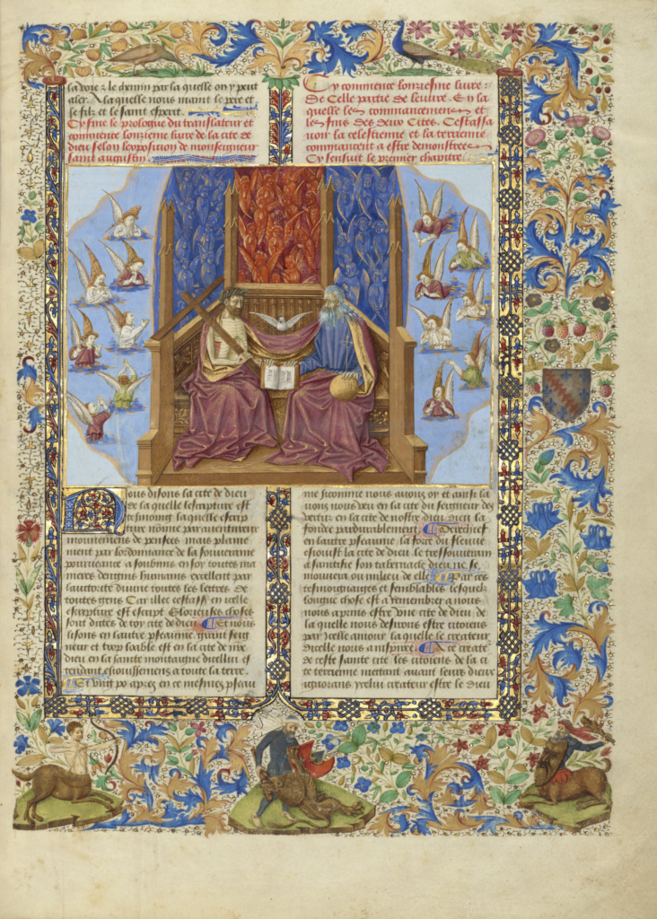 The Trinity; Unknown; about 1440–1450; Tempera colors, gold and silver paint on parchment; Leaf: 36.2 × 27.3 cm (14 1/4 × 10 3/4 in.); Ms. Ludwig XI 10 (83.MN.129), fol. 2; Rights Statement: No Copyright - United States