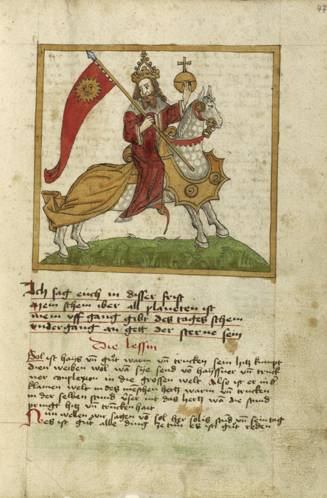 The Sun Represented as an Emperor on Horseback; Unknown; shortly after 1464; Watercolor and ink on paper bound between original wood boards covered with original pigskin; Leaf: 30.6 × 22.1 cm (12 1/16 × 8 11/16 in.); Ms. Ludwig XII 8 (83.MO.137), fol. 47; Rights Statement: No Copyright - United States