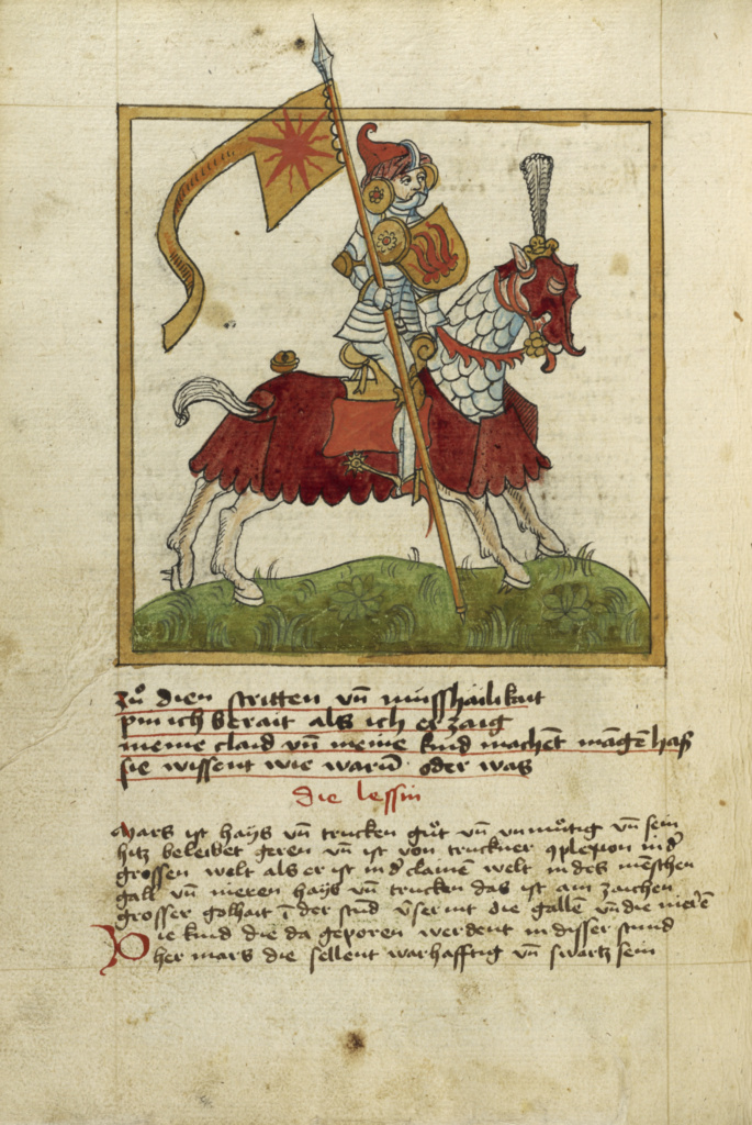 The Planet Mars as an Armored Knight on Horseback; Unknown; Ulm, Germany; shortly after 1464; Watercolor and ink on paper bound between original wood boards covered with original pigskin; Leaf: 30.6 × 22.1 cm (12 1/16 × 8 11/16 in.); Ms. Ludwig XII 8 (83.MO.137), fol. 48v; The J. Paul Getty Museum, Los Angeles, Ms. Ludwig XII 8, fol. 48v; Rights Statement: No Copyright - United States