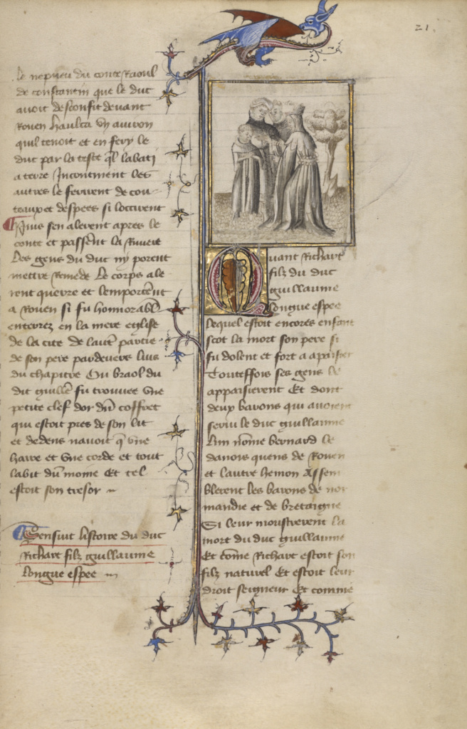 Richard I with Two Barons and his Mother; Unknown; Paris, France; about 1400–1415; Tempera colors, gold leaf, black and brown ink, and gray wash; Leaf: 29.1 × 19.1 cm (11 7/16 × 7 1/2 in.); Ms. Ludwig XIII 4 (83.MP.147), fol. 21; The J. Paul Getty Museum, Los Angeles, Ms. Ludwig XIII 4, fol. 21; Rights Statement: No Copyright - United States