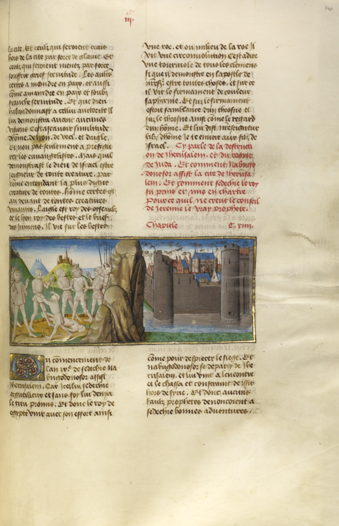 Nebuchadnezzar and King Sedekias and the Destruction of Jerusalem; Unknown; Ghent, Belgium; about 1475; Tempera colors, gold leaf, and gold paint on parchment; Leaf: 43.8 × 30.5 cm (17 1/4 × 12 in.); Ms. Ludwig XIII 5, v1 (83.MP.148.1), fol. 141; The J. Paul Getty Museum, Los Angeles, Ms. Ludwig XIII 5, v1, fol. 141; Rights Statement: No Copyright - United States