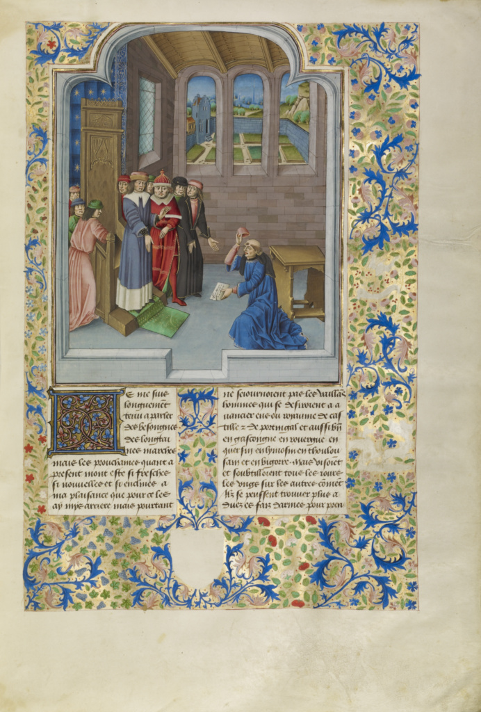 Froissart Kneeling before Gaston Phébus, Count of Foix; Master of the Soane Josephus (Flemish, active about 1475 - 1485); about 1480–1483; Tempera colors, gold leaf, gold paint, and ink on parchment; Leaf: 48 × 35 cm (18 7/8 × 13 3/4 in.); Ms. Ludwig XIII 7 (83.MP.150), fol. 9; Rights Statement: No Copyright - United States
