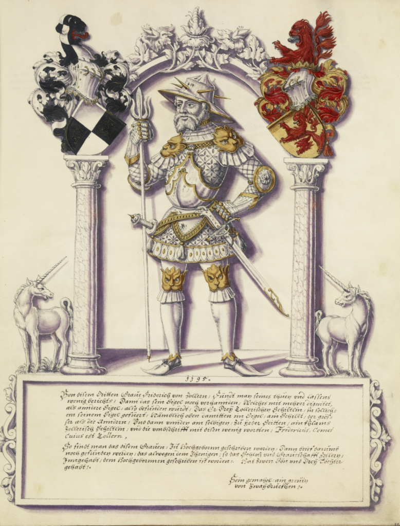 Chronicle of the Hohenzollern Family; Jörg Ziegler (German, early 16th century - 1574/1577); Augsburg (probably), Germany; about 1572; Pen and ink, colored washes, tempera, and gold paint on parchment bound between pasteboard covered with brown calf; Leaf: 35.2 × 27.8 cm (13 7/8 × 10 15/16 in.); Ms. Ludwig XIII 11 (83.MP.154); The J. Paul Getty Museum, Los Angeles, Ms. Ludwig XIII 11; Rights Statement: No Copyright - United States