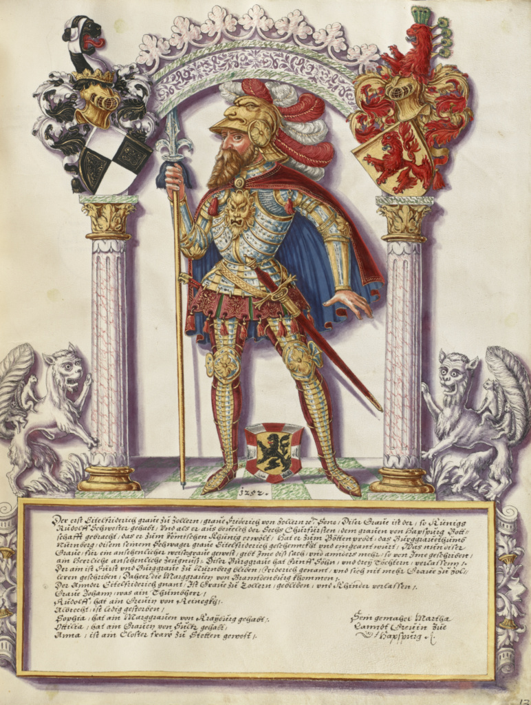 Eitelfriedrich I Hohenzollern; Jörg Ziegler (German, early 16th century - 1574/1577); Rottenburg, Germany; about 1572; Pen and ink, colored washes, tempera, and gold paint on parchment; Leaf: 35.2 × 27.8 cm (13 7/8 × 10 15/16 in.); Ms. Ludwig XIII 11 (83.MP.154), fol. 18; The J. Paul Getty Museum, Los Angeles, Ms. Ludwig XIII 11, fol. 18; Rights Statement: No Copyright - United States