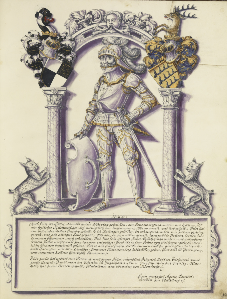 Fritz Hohenzollern; Jörg Ziegler (German, early 16th century - 1574/1577); Augsburg (probably), Germany; about 1572; Pen and ink, colored washes, tempera, and gold paint on parchment; Leaf: 35.2 × 27.8 cm (13 7/8 × 10 15/16 in.); Ms. Ludwig XIII 11 (83.MP.154), fol. 21; The J. Paul Getty Museum, Los Angeles, Ms. Ludwig XIII 11, fol. 21; Rights Statement: No Copyright - United States