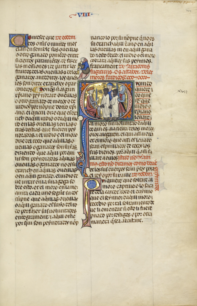 Initial Q: Two Soldiers Leading Two Muslim Men before a King; Unknown, Michael Lupi de Çandiu (Spanish, active Pamplona, Spain 1297 - 1305); Northeastern Spain, Spain; about 1290–1310; Tempera colors, gold leaf, and ink on parchment; Leaf: 36.5 × 24 cm (14 3/8 × 9 7/16 in.); Ms. Ludwig XIV 6 (83.MQ.165), fol. 244; The J. Paul Getty Museum, Los Angeles, Ms. Ludwig XIV 6, fol. 244; Rights Statement: No Copyright - United States