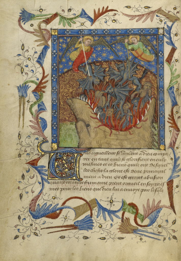 The Fall of the Rebel Angels; Unknown; about 1430; Tempera colors, gold leaf, gold paint, and pen and ink on parchment; Leaf: 24.8 × 17.9 cm (9 3/4 × 7 1/16 in.); Ms. Ludwig XIV 9 (83.MQ.170), fol. 3v; Rights Statement: No Copyright - United States