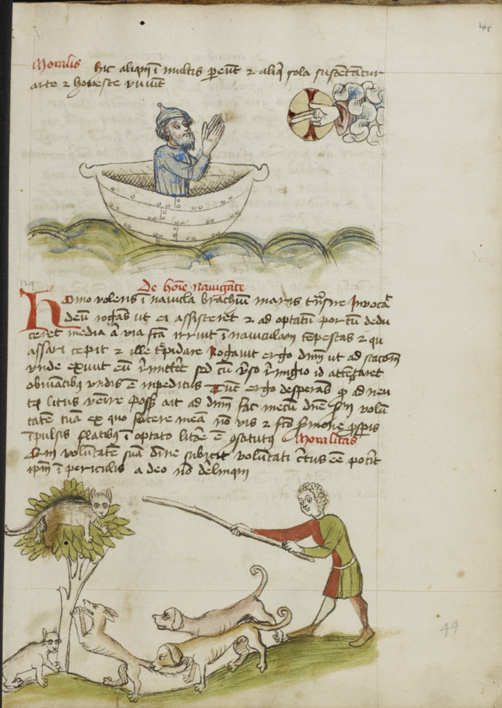 An Elderly Man in Prayer in a Boat; A Cat in a Tree under which is a Fox; Unknown; Trier (probably), Germany; third quarter of 15th century; Pen and black ink and colored washes on paper; Leaf: 28.7 × 20.6 cm (11 5/16 × 8 1/8 in.); Ms. Ludwig XV 1 (83.MR.171), fol. 44; The J. Paul Getty Museum, Los Angeles, Ms. Ludwig XV 1, fol. 44; Rights Statement: No Copyright - United States