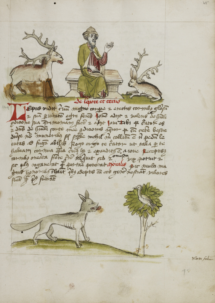 Jupiter as a Elderly Bearded Man Enthroned between a Stag and a Hare; A Wolf under a Tree; Unknown; Trier (probably), Germany; third quarter of 15th century; Pen and black ink and colored washes on paper; Leaf: 28.7 × 20.6 cm (11 5/16 × 8 1/8 in.); Ms. Ludwig XV 1 (83.MR.171), fol. 45; The J. Paul Getty Museum, Los Angeles, Ms. Ludwig XV 1, fol. 45; Rights Statement: No Copyright - United States