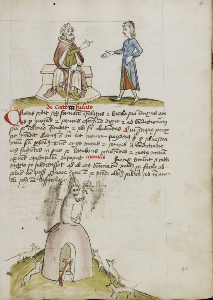 An Elderly Man Speaking to a Younger Man; A Cat with a Bishop's Crosier and Miter Sitting on a Circular Building; Unknown; third quarter of 15th century; Pen and black ink and colored washes on paper; Leaf: 28.7 × 20.6 cm (11 5/16 × 8 1/8 in.); Ms. Ludwig XV 1 (83.MR.171), fol. 48; Rights Statement: No Copyright - United States