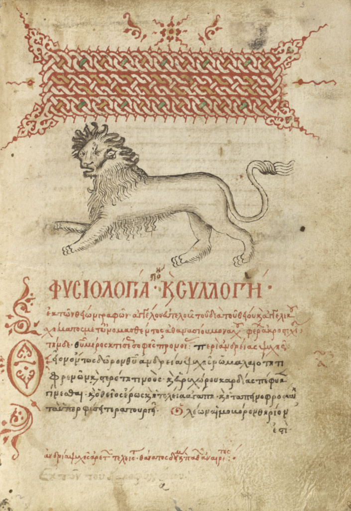 Miscellany: Physiologus; other texts; Unknown, Angelos Gregorios (Greek (Cretan), active about 1460 - 1480), and Dorotheos of Gaza (Egyptian, active 6th century), and Cyril of Alexandria (Egyptian, died 444); 1510–1520; Pen and red lead and iron gall inks, watercolors, tempera colors, and gold paint on paper bound between wood boards covered with probably original brown calf; Leaf: 21.7 × 15.6 cm (8 9/16 × 6 1/8 in.); Ms. Ludwig XV 2 (83.MR.172); Rights Statement: No Copyright - United States