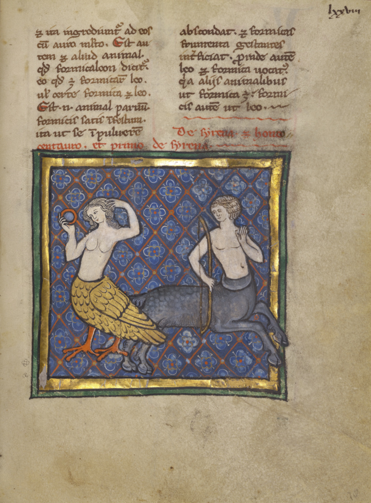 A Siren and a Centaur; Unknown; Thérouanne ?, France (formerly Flanders); about 1270; Tempera colors, gold leaf, and ink on parchment; Leaf: 19.1 × 14.3 cm (7 1/2 × 5 5/8 in.); Ms. Ludwig XV 3 (83.MR.173), fol. 78; The J. Paul Getty Museum, Los Angeles, Ms. Ludwig XV 3, fol. 78; Rights Statement: No Copyright - United States
