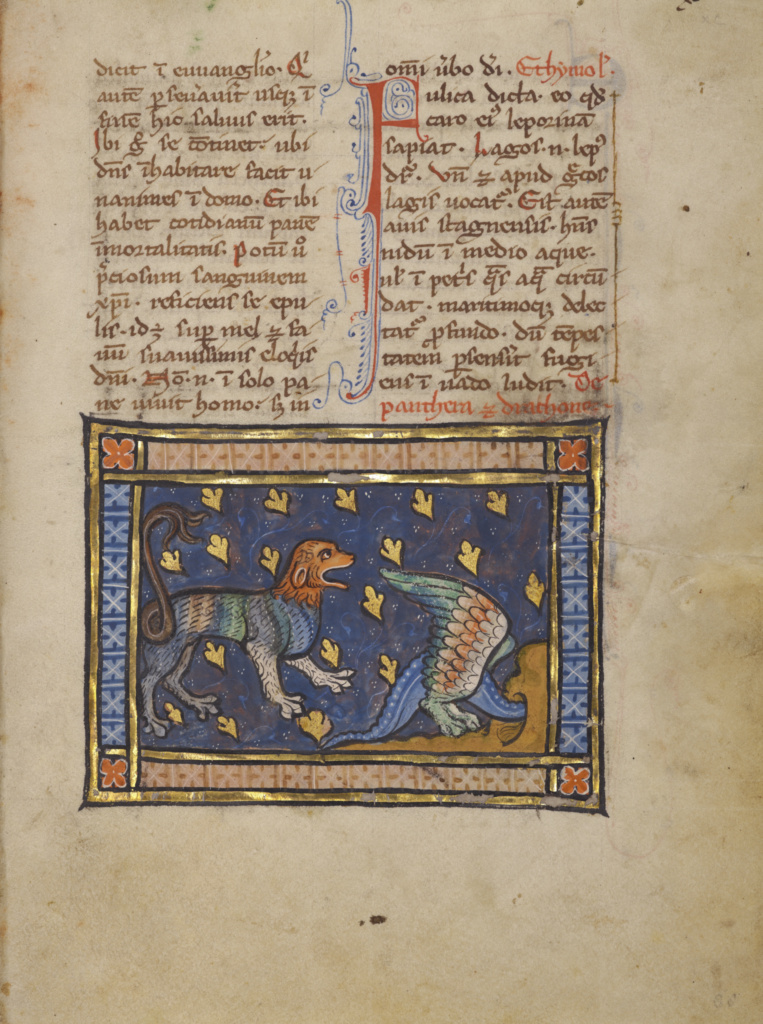 A Dragon Flying over a Panther; Unknown; Thérouanne ?, France (formerly Flanders); about 1270; Tempera colors, gold leaf, and ink on parchment; Leaf: 19.1 × 14.3 cm (7 1/2 × 5 5/8 in.); Ms. Ludwig XV 3 (83.MR.173), fol. 88; The J. Paul Getty Museum, Los Angeles, Ms. Ludwig XV 3, fol. 88; Rights Statement: No Copyright - United States