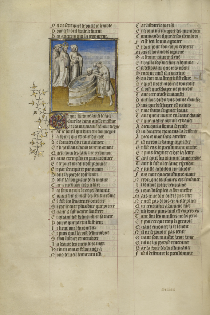 Emperor Nero Ordering Seneca's Veins Slashed; Unknown; Paris, France; about 1405; Tempera colors, gold leaf, and ink on parchment bound between pasteboard covered with dark red morocco; Leaf: 36.7 × 26 cm (14 7/16 × 10 1/4 in.); Ms. Ludwig XV 7 (83.MR.177), fol. 40v; The J. Paul Getty Museum, Los Angeles, Ms. Ludwig XV 7, fol. 40v; Rights Statement: No Copyright - United States