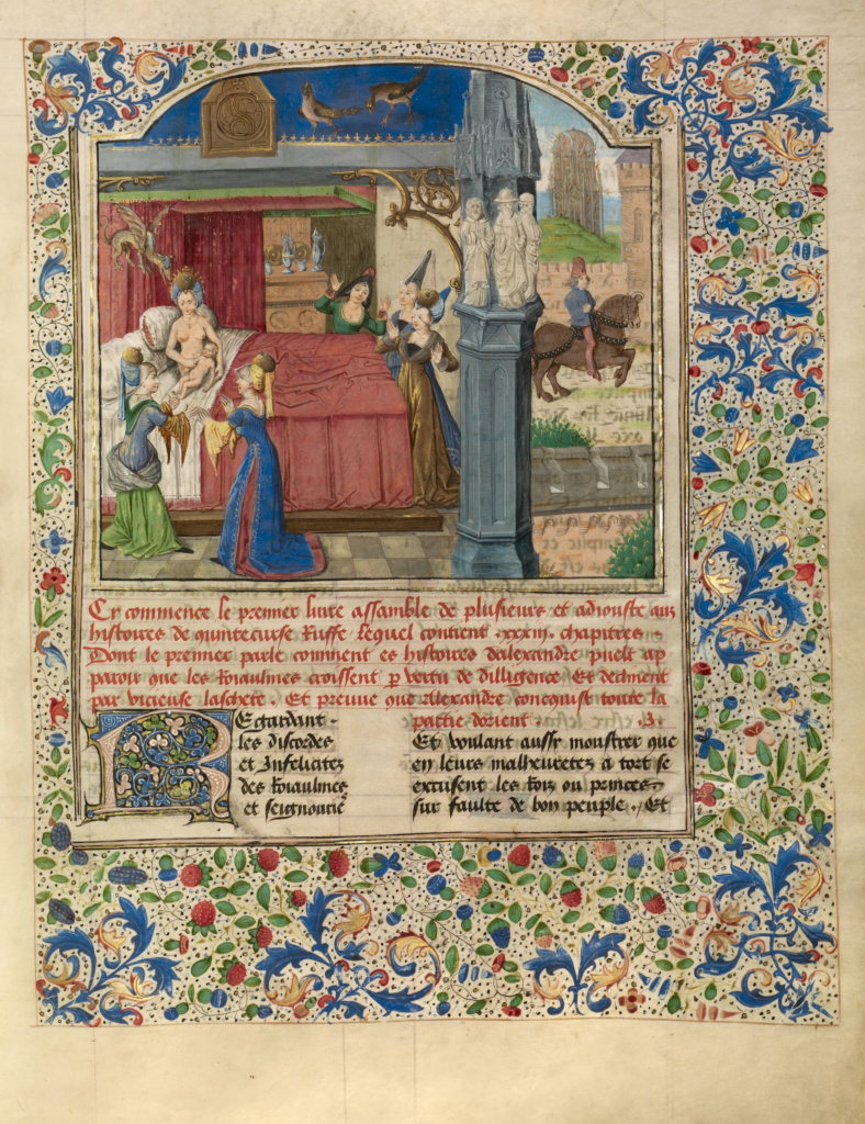 The Birth of Alexander; Master of the Jardin de vertueuse consolation and assistant (Flemish, active 3rd quarter of 15th century); Lille (written), France; about 1470–1475; Tempera colors, gold leaf, gold paint, and ink on parchment; Leaf: 43.2 × 33 cm (17 × 13 in.); Ms. Ludwig XV 8 (83.MR.178), fol. 15; The J. Paul Getty Museum, Los Angeles, Ms. Ludwig XV 8, fol. 15; Rights Statement: No Copyright - United States