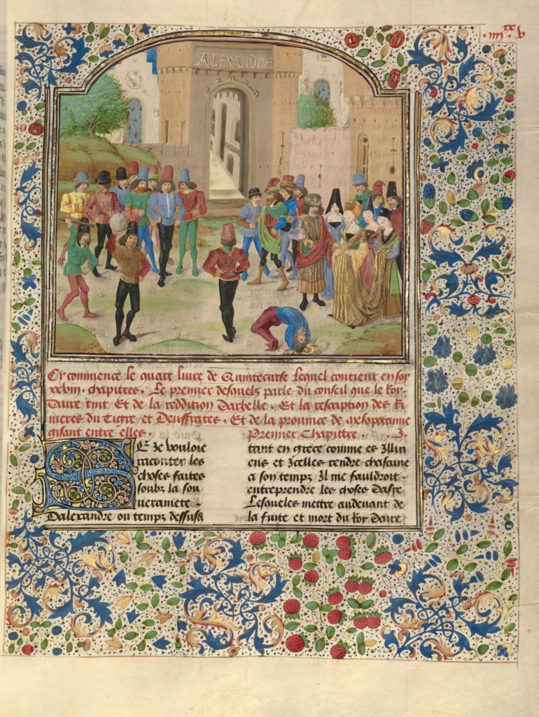 The Competition in Sittacene and the Placating of Sisigambis; Master of the Jardin de vertueuse consolation and assistant (Flemish, active 3rd quarter of 15th century); Bruges (illuminated), Belgium; about 1470–1475; Tempera colors, gold leaf, gold paint, and ink on parchment; Leaf: 43.2 × 33 cm (17 × 13 in.); Ms. Ludwig XV 8 (83.MR.178), fol. 99; The J. Paul Getty Museum, Los Angeles, Ms. Ludwig XV 8, fol. 99; Rights Statement: No Copyright - United States
