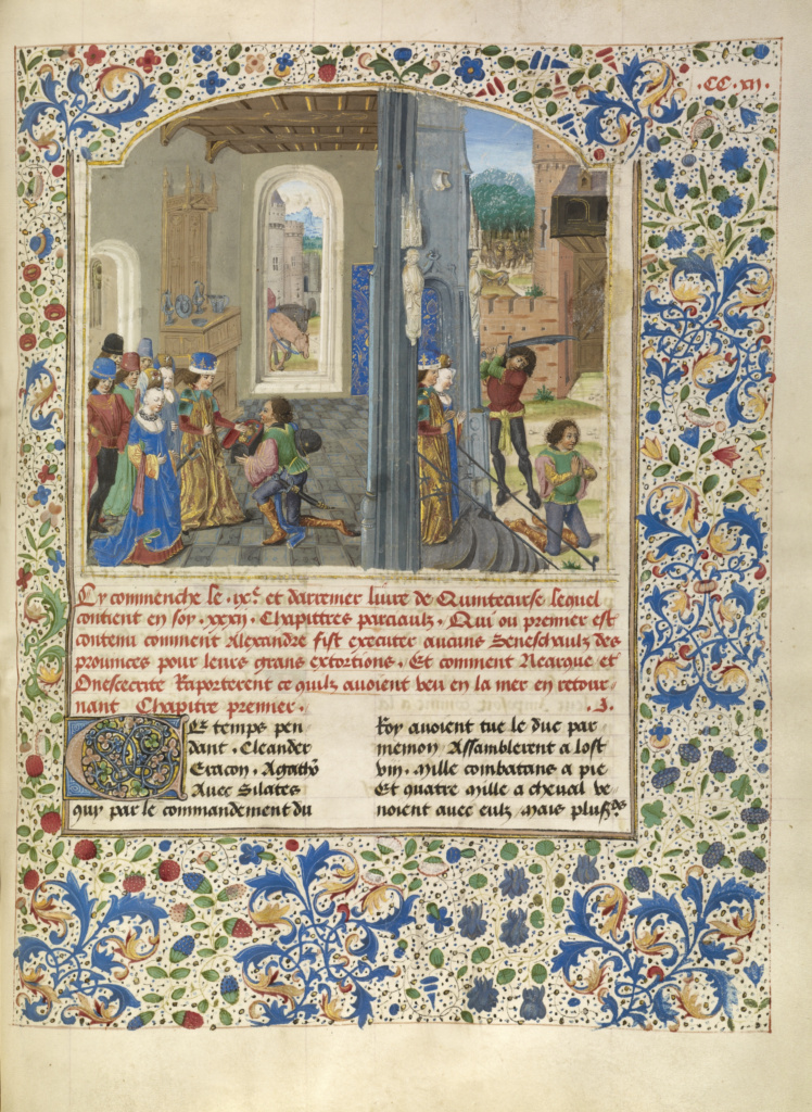 Orsines Presenting a Gift to Alexander and the Execution of Orsines; Master of the Jardin de vertueuse consolation and assistant (Flemish, active 3rd quarter of 15th century); Lille (written), France; about 1470–1475; Tempera colors, gold leaf, gold paint, and ink on parchment; Leaf: 43.2 × 33 cm (17 × 13 in.); Ms. Ludwig XV 8 (83.MR.178), fol. 226; The J. Paul Getty Museum, Los Angeles, Ms. Ludwig XV 8, fol. 226; Rights Statement: No Copyright - United States