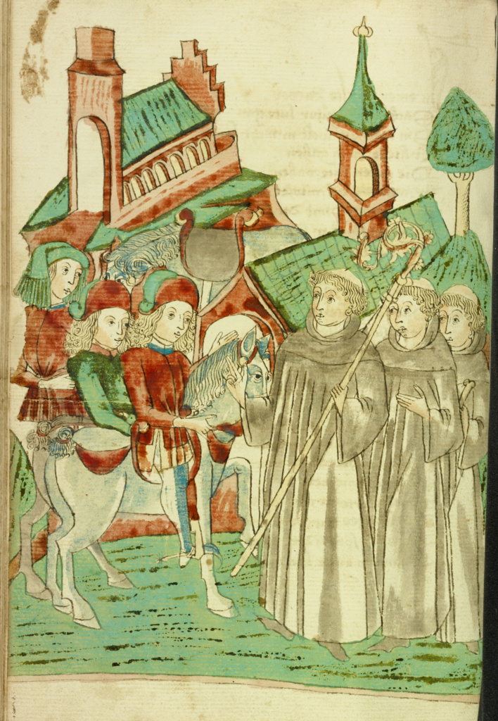 Horsemen Meeting an Abbot and Two Monks at a Monastery; Follower of Hans Schilling (German, active 1459 - 1467), from the Workshop of Diebold Lauber (German, active 1427 - 1467); Hagenau, Alsace, France (formerly Germany); 1469; Ink, colored washes, and tempera colors on paper; Leaf: 28.6 × 20.3 cm (11 1/4 × 8 in.); Ms. Ludwig XV 9 (83.MR.179), fol. 186v; The J. Paul Getty Museum, Los Angeles, Ms. Ludwig XV 9, fol. 186v; Rights Statement: No Copyright - United States