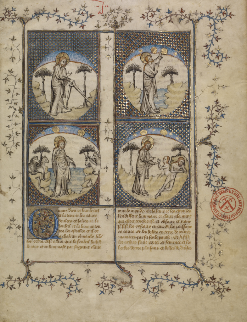 Scenes from the Creation; First Master of the Bible historiale of Jean de Berry (French, active about 1390 - about 1400), Unknown; Paris, France; about 1390–1400; Tempera colors, colored washes, gold leaf, and ink on parchment; Leaf: 37.7 × 29.8 cm (14 13/16 × 11 3/4 in.); Ms. Ludwig XIII 3, leaf 1 (83.MP.146.1.recto); The J. Paul Getty Museum, Los Angeles, Ms. Ludwig XIII 3, leaf 1; Rights Statement: No Copyright - United States
