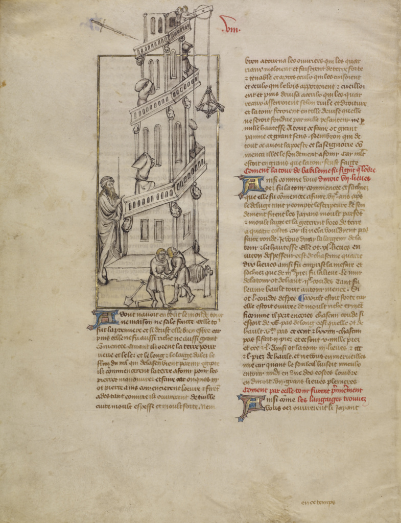 The Building of the Tower of Babel; First Master of the Bible historiale of Jean de Berry (French, active about 1390 - about 1400), Unknown; about 1390–1400; Tempera colors, colored washes, gold leaf, and ink on parchment; Leaf: 37.8 × 29.8 cm (14 7/8 × 11 3/4 in.); Ms. Ludwig XIII 3, leaf 2v (83.MP.146.2.verso); Rights Statement: No Copyright - United States