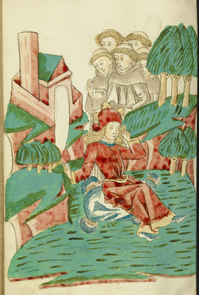 Josaphat sits Dreaming in a Landscape, with Several Monks in the Background; Follower of Hans Schilling (German, active 1459 - 1467), from the Workshop of Diebold Lauber (German, active 1427 - 1467); Hagenau, Alsace, France (formerly Germany); 1469; Ink, colored washes, and tempera colors on paper; Leaf: 28.6 × 20.3 cm (11 1/4 × 8 in.); Ms. Ludwig XV 9 (83.MR.179), fol. 289v; The J. Paul Getty Museum, Los Angeles, Ms. Ludwig XV 9, fol. 289v; Rights Statement: No Copyright - United States