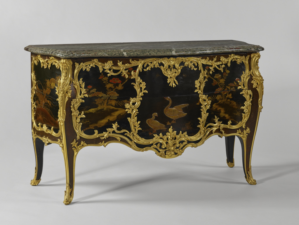 Commode; Attributed to Joseph Baumhauer (French, died 1772); early to mid-1750s; White oak veneered with ebony and a wood possibly identified as servicetree, set with panels of Japanese lacquer on Japanese arborvitae, and painted with European lacquer; drawers of white oak; brass and iron hardware and lock; gilt-bronze mounts; campan mélange vert marble top; 88.3 × 146.1 × 62.6 cm (34 3/4 × 57 1/2 × 24 5/8 in.); 55.DA.2; Rights Statement: No Copyright - United States