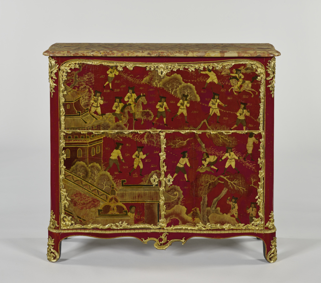 Secrétaire; Jacques Dubois (French, 1694 - 1763, master 1742); Paris, France; about 1755; White oak and sycamore maple veneered with panels of red Chinese lacquer on Japanese arborvitae and painted with European lacquer; interior drawers of sycamore maple and Japanese arborvitae; gilt-bronze mounts; brass and iron hardware and locks; brèche d'Alep top; replacement silk velvet and trim; 102.8 × 114.3 × 38.4 cm (40 1/2 × 45 × 15 1/8 in.); 65.DA.3; The J. Paul Getty Museum, Los Angeles; Rights Statement: No Copyright - United States