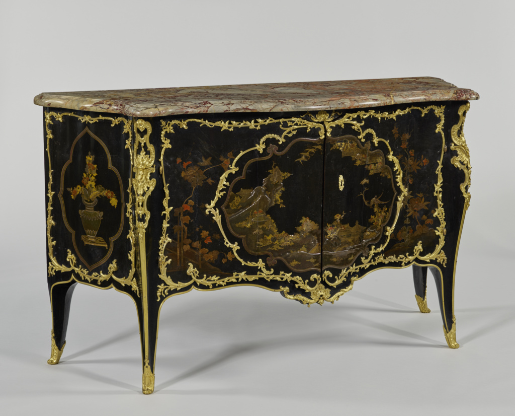 Commode; Bernard II van Risenburgh (French, after 1696 - about 1766, master before 1730); Paris, France; about 1737; White oak, veneered with alder, set with panels of Japanese lacquer on a coniferous substrate, and painted with European lacquer; veneered with cherry and amaranth on interior of the doors; replacement gilt-bronze mounts; brass and iron hardware and lock; Sarrancolin marble top; original silk fabric lining, and silver thread galon trim; 88.3 × 151.9 × 57.8 cm (34 3/4 × 59 13/16 × 22 3/4 in.); 65.DA.4; The J. Paul Getty Museum, Los Angeles; Rights Statement: No Copyright - United States
