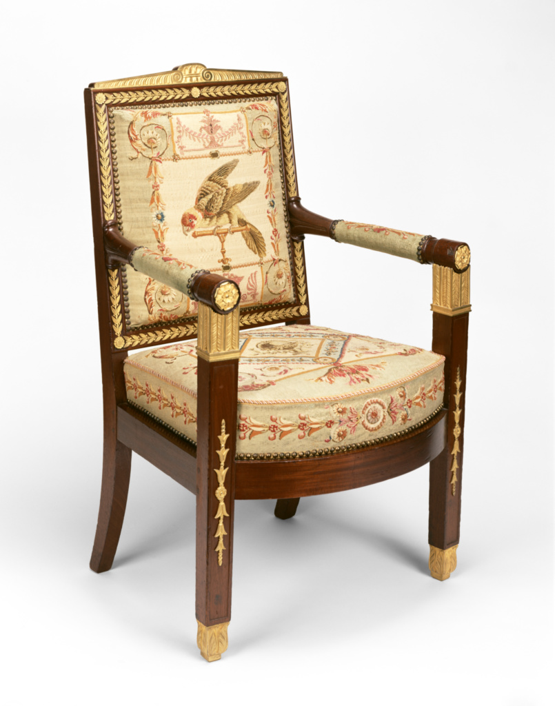One Settee and Ten Armchairs (two bergères, and eight fauteuils); Frames attributed to François-Honoré-Georges Jacob-Desmalter (French, 1770 - 1841), Tapestry upholstery by the Beauvais Manufactory (French, founded 1664); about 1810; Mahogany and beech; gilt-bronze mounts; wool and silk; 67.DA.6; Gift of J. Paul Getty; Rights Statement: No Copyright - United States