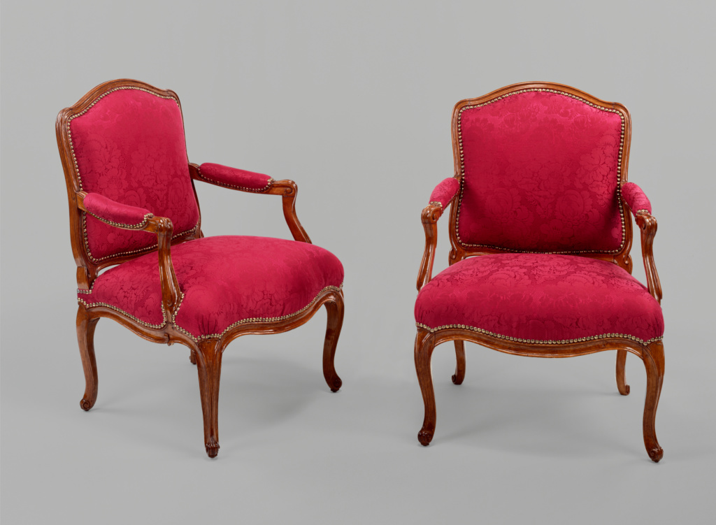 Pair of Armchairs; Nicolas-Quinibert Foliot (French, 1706 - 1776); 1762; Beech; modern silk upholstery; 93.3 × 67.7 × 55.5 cm (36 3/4 × 26 5/8 × 21 7/8 in.); 70.DA.70; Gift of J. Paul Getty; Rights Statement: No Copyright - United States
