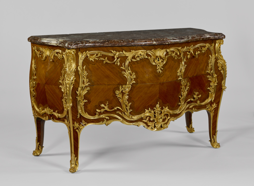 Commode; Unknown maker, French; Paris, France; about 1850–1900; White and red oak, poplar and fir veneered with tulipwood and kingwood; gilt-bronze mounts; iron lock hardware; Rance limestone top; 90.1 × 144.8 × 66.6 cm (35 1/2 × 57 × 26 1/4 in.); 70.DA.79; The J. Paul Getty Museum, Los Angeles; Rights Statement: No Copyright - United States