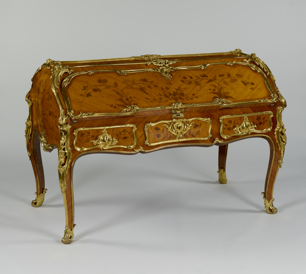 Double Desk; Bernard II van Risenburgh (French, after 1696 - about 1766, master before 1730); Paris, France; mid-1750s; White oak veneered with tulipwood, kingwood and bloodwood; drawers of mahogany; gilt-bronze mounts; gilt-bronze and iron hardware and locks; stained leather; 107.8 × 158.7 × 84.7 cm (42 7/16 × 62 1/2 × 33 3/8 in.); 70.DA.87; The J. Paul Getty Museum, Los Angeles; Rights Statement: No Copyright - United States