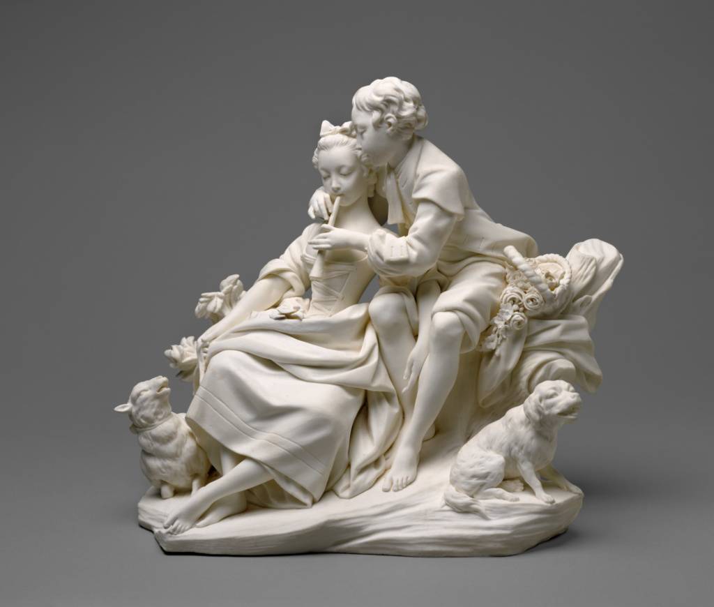 Figure Group: The Flute Lesson (Le Flûteur) (one of a pair); Sèvres Manufactory (French, founded 1756), Modelled under the direction of Étienne-Maurice Falconet (French, 1716 - 1791), After engraved designs of François Boucher (French, 1703 - 1770); Sèvres, France; about 1757–1766; Soft-paste biscuit porcelain; traces of red pigment; 22.3 × 25.4 × 15.2 cm (8 3/4 × 10 × 6 in.); 70.DE.98.1; The J. Paul Getty Museum, Los Angeles; Rights Statement: No Copyright - United States