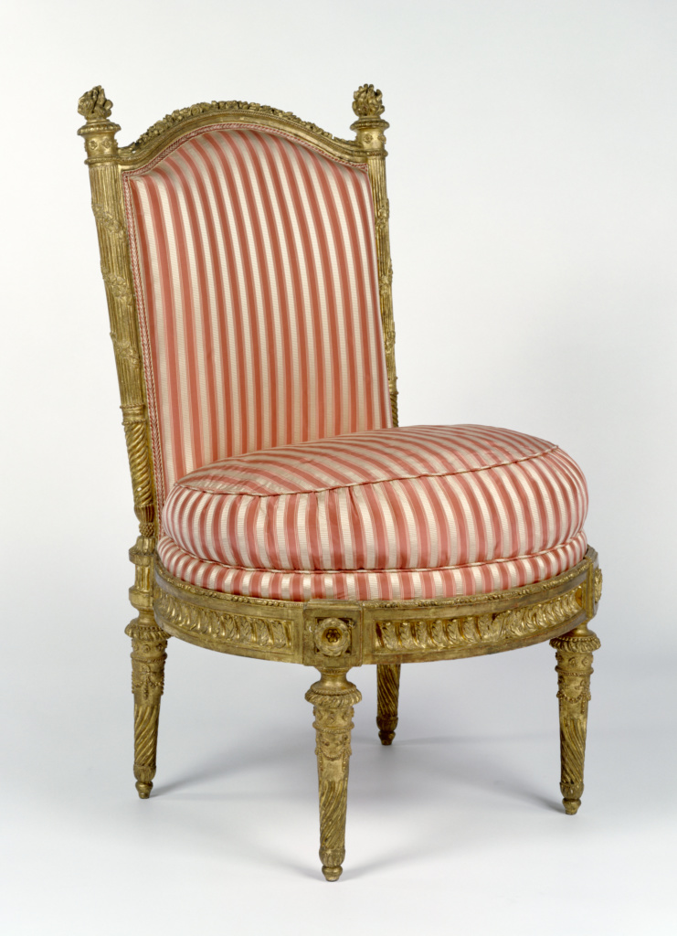 Four Side Chairs (chaises à la reine); Jacques Gondoin (French, 1737 - 1818), François-Toussaint Foliot (French, 1748 - about 1839, master 1773), probably carved by Toussaint Foliot (French, about 1715 - 1798, master 1732); 1780–1781; Gessoed and gilded beech; modern silk upholstery; 88.9 × 53.3 × 50.8 cm (35 × 21 × 20 in.); 71.DA.93; Rights Statement: No Copyright - United States