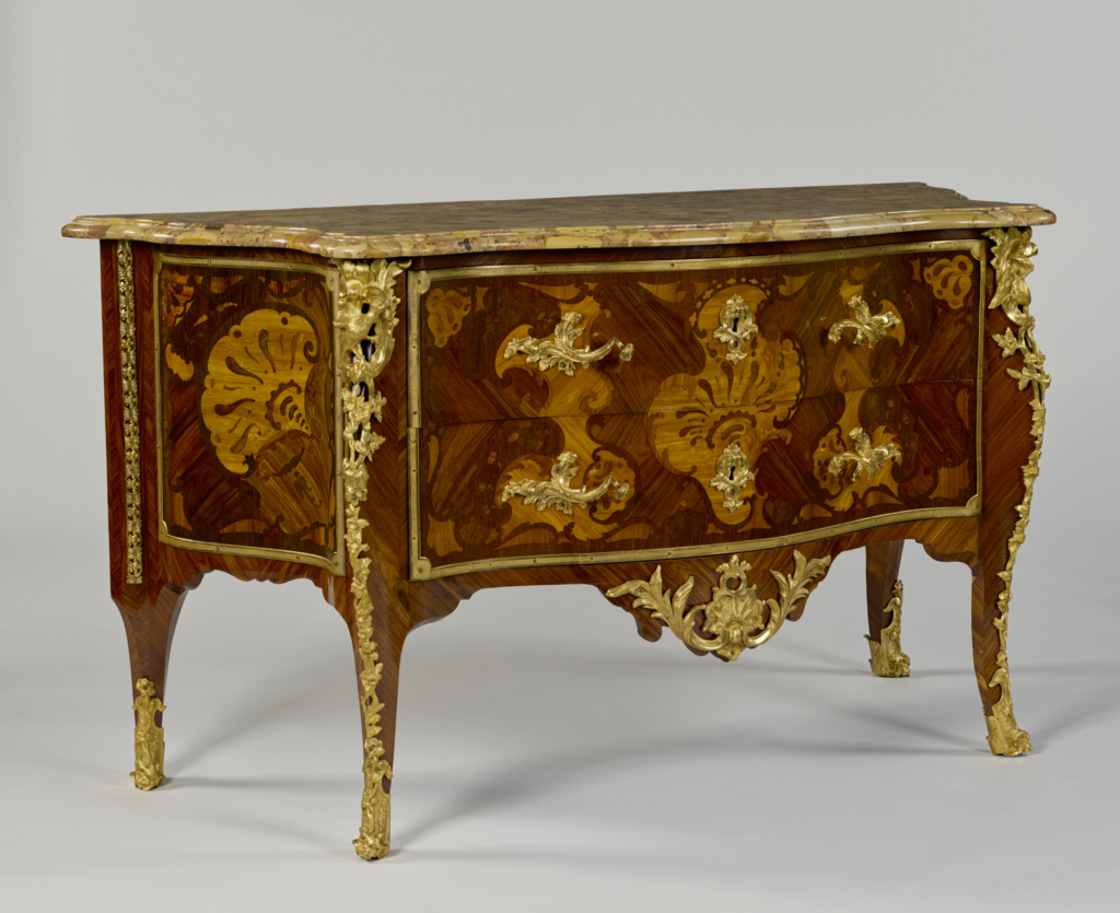 """Commode; Unknown maker, Unidentified """"DF""""; Paris, France; portions of carcass and gilt-bronze mounts about 1735; finished carcass and veneer late 19th or 20th century; White oak, maple and fir veneered with tulipwood, kingwood, amaranth and other unidentified woods; gilt-bronze mounts; brass and iron lock; brèche d'Alep top; 87 × 154.9 × 63.5 cm (34 1/4 × 61 × 25 in.); 76.DA.15; The J. Paul Getty Museum, Los Angeles; Rights Statement: No Copyright - United States"""