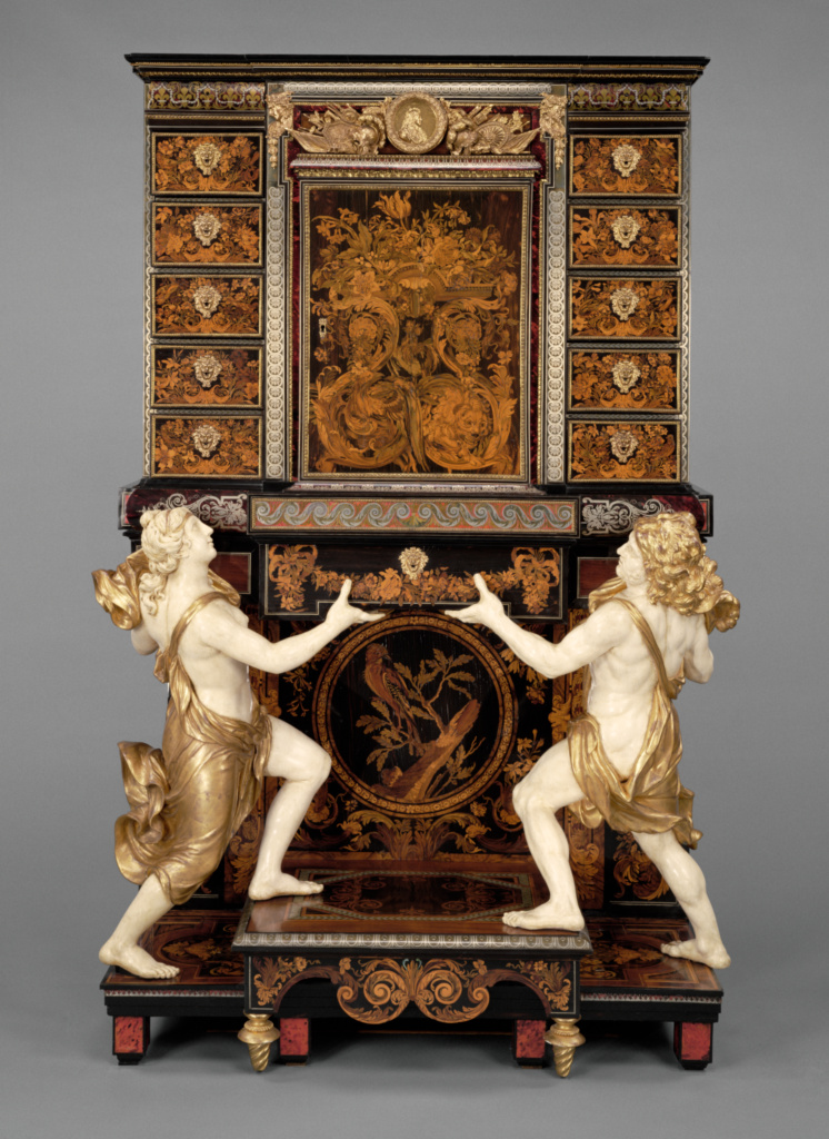 Cabinet on Stand; Attributed to André-Charles Boulle (French, 1642 - 1732, master before 1666), and Medallions after Jean Varin (French, 1596 - 1672); Paris, France; about 1675–1680; Oak veneered with pewter, brass, tortoise shell, horn, ebony, ivory, and wood marquetry; bronze mounts; figures of painted and gilded oak; drawers of snakewood; 229.9 × 151.2 × 66.7 cm (90 1/2 × 59 1/2 × 26 1/4 in.); 77.DA.1; The J. Paul Getty Museum, Los Angeles; Rights Statement: No Copyright - United States