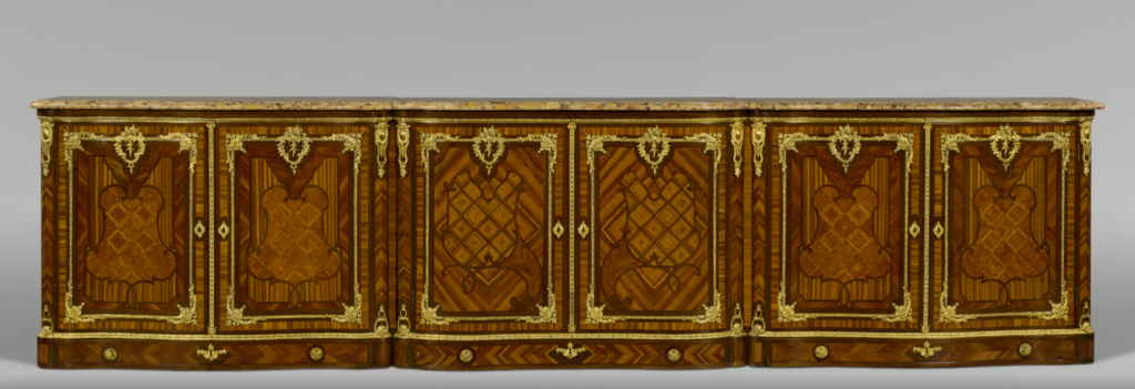 Cabinet; Attributed to Bernard II van Risenburgh (French, after 1696 - about 1766, master before 1730); Paris, France; mid-1730s; White oak veneered with bloodwood, cherry, ferréol, and amaranth; gilt-bronze mounts; brass and iron hardware, lock, and keys; brèche d'Alep top; 115.9 × 468.6 × 54.6 cm (45 5/8 × 184 1/2 × 21 1/2 in.); 77.DA.91; The J. Paul Getty Museum, Los Angeles; Rights Statement: No Copyright - United States