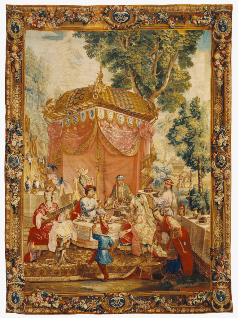 Tapestry: La Collation, from L'Histoire de l'empereur de la Chine Series; After cartoons by Guy-Louis Vernansal (French, 1648 - 1729), and Jean-Baptiste Monnoyer (French, 1636 - 1699), and Jean-Baptiste Belin de Fontenay (French, 1653 - 1715), Beauvais Manufactory (French, founded 1664), woven under the direction of Philippe Béhagle (French, 1641 - 1705); Beauvais, France; about 1697–1705; Wool and silk; 309.9 × 422.9 cm (122 × 166 1/2 in.); 83.DD.336; The J. Paul Getty Museum, Los Angeles; Rights Statement: No Copyright - United States