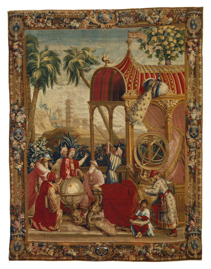 Tapestry: Les Astronomes, from L'Histoire de l'empereur de la Chine Series; Beauvais Manufactory (French, founded 1664), Woven under the direction of Philippe Béhagle (French, 1641 - 1705), After cartoons by Guy-Louis Vernansal (French, 1648 - 1729), and Jean-Baptiste Monnoyer (French, 1636 - 1699), and Jean-Baptiste Belin de Fontenay (French, 1653 - 1715); Beauvais, France; about 1697–1705; Wool and silk; modern cotton lining; 318.8 × 424.2 cm (125 1/2 × 167 in.); 83.DD.338; The J. Paul Getty Museum, Los Angeles; Rights Statement: No Copyright - United States