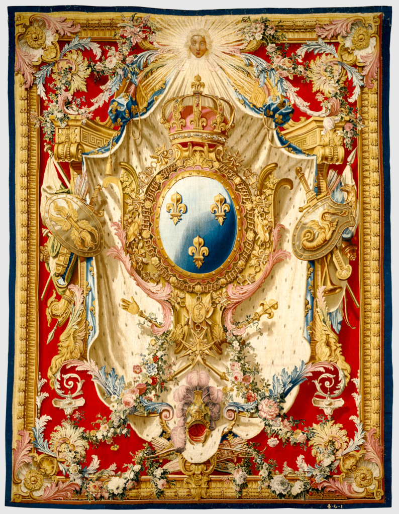 Tapestry: Portière aux Armes de France; woven under the direction of Etienne-Claude Le Blond (French, about 1700 - 1751), Pierre-Josse Perrot (French, active 1724 - 1750), Royal Factory of Furniture to the Crown at the Gobelins Manufactory (French, founded 1662); Gobelins, France; designed 1727, woven about 1730–1740; Wool and silk; modern cotton lining; 362.9 × 280.7 cm (142 7/8 × 110 1/2 in.); 85.DD.100; The J. Paul Getty Museum, Los Angeles; Rights Statement: No Copyright - United States