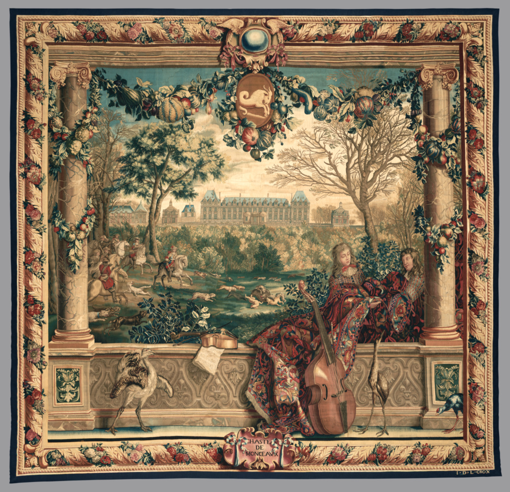 Château of Monceaux / Month of December; Design conceived by Charles Le Brun , about 1665- by 1668 (French, 1619 - 1690), Cartoon for the horizontal-warp loom painted collaboratively by Joseph Yvart , (French, 1649 - 1728), Abraham Genoels , (Flemish, about 1640 - 1723), Adriaen-Frans Boudewyns (called Baudoin) , (Flemish, 1644 - 1711), François Bonnemer , (French, 1637 - 1689), Jean-Baptiste Martin (called Martin des Batailles) (French, 1659 - 1735), and Various makers , about 1668, Royal Factory of Furniture to the Crown at the Gobelins Manufactory , (French, founded 1662), in the horizontal-loom workshop of Jean de la Croix (French, died 1714); before 1712; Wool and silk; 317.5 × 330.8 cm (125 × 130 1/4 in.); 85.DD.309; Rights Statement: No Copyright - United States