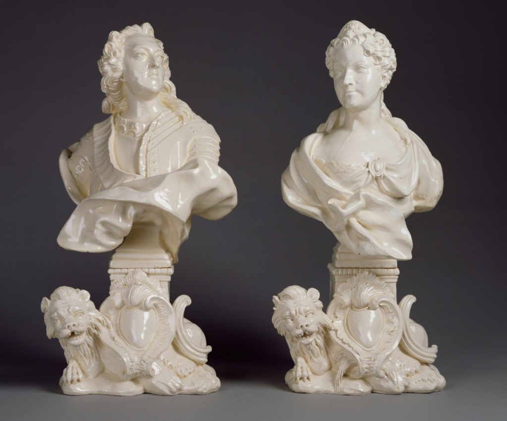 Pair of Busts: Louis XV and Marie Leczinska; Rue de Charenton Manufactory (Paris), or Chambrette Manufactory (Lunéville); Paris or Lunéville, France; about 1745–1755; Lead-glazed earthenware (faience fine); 53 × 24 × 25.1 cm (20 7/8 × 9 7/16 × 9 7/8 in.); 86.DE.668; The J. Paul Getty Museum, Los Angeles; Rights Statement: No Copyright - United States